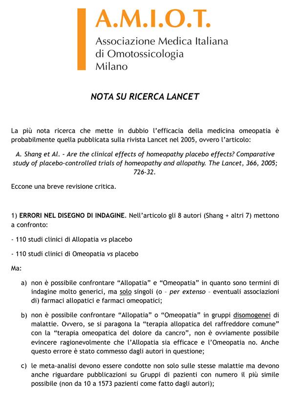 NOTA SU RICERCA LANCET OMEOCRITICA